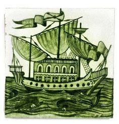 William De Morgan 'Galleon' a Green Glazed Tile, 1898 Tile Art, Mosaic Tiles, Mosaics, Morgan Williams, Victorian Tiles, Tile Design, Rug Making, Fabric Art, Coloring