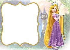Who is a popular princess beside Snow White and Cinderella? The answer can be Rapunzel. With her very long hair, Rapunzel successfully made a lot of little girls admiring her. If your little princess' birthday is coming close, celebrating her special Rapunzel Invitations, Princess Party Invitations, Free Printable Invitations Templates, Free Printable Birthday Invitations, Templates Free, Rapunzel Birthday Party, Tangled Party, Princess Birthday, Princess Rapunzel