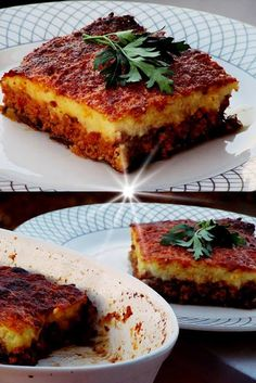Aubergine baked with minced meat and mashed potatoes ., Baked eggplants with minced meat and mashed potatoes ! ~ COOKING AND RECIPES Cookbook Recipes, Cooking Recipes, Baked Eggplant, Greek Recipes, Quiche, Mashed Potatoes, French Toast, Food And Drink, Veggies