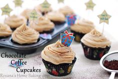 Chocolate cupcakes with coffee cream cheese frosting