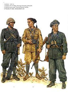 """Regio Esercito, Tunisia 1942/1943 - Soldato, 51° Rgmt, Divisione di Fanteria d'assalto """"Superga"""" - Camicia Nera Scelta, Divisione di Fanteria """"Giovani Fascisti"""" - Tenente, X Arditi Rep """"Camionettisti"""""""