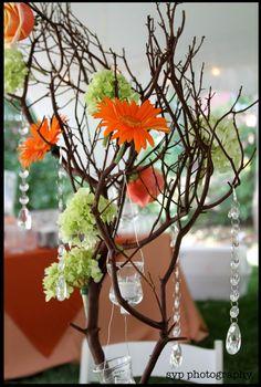Mini Manzita tree, Gerber Daisies, Hydrangeas, Roses and Crystals