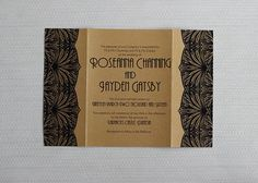 Art deco wedding invitation, gold and black with bellyband, channeling the great gatsby and 1920s style, Be My Guest NZ | Deco-lectable