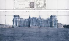 "Christo Wrapped Reichstag (Project for Berlin) Drawing 1979 in two parts 15 x 96"" and 42 x 96"" (38 x 244 cm and 106.6 x 244 cm) Pencil, charcoal, pastel, wax crayon and map"