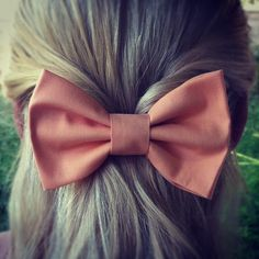 Peach Pink BIG hair bow by colordrop on Etsy