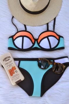 Made from strong yet flexible neoprene fabric, Triangl Poppy Bikini in Summer Sorbet is a firm-fitting swimsuit ideal for swimming and beachside activities. Summer Bathing Suits, Cute Bathing Suits, Summer Suits, Summer Wear, Lingerie, Style Streetwear, Cute Swimsuits, Summer Essentials, Sorbet