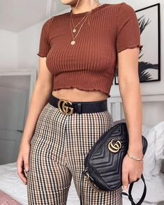 """bc1fabb6d01696 Kayleigh Johnson on Instagram  """"CHECK MATE ✖ how cute is this  boohoo crop    checker trouser combo ! 🙊 search code DZZ16505 for the top and DZZ05188  for ..."""