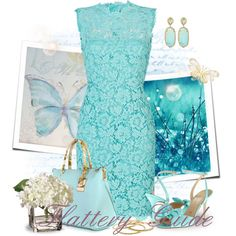 Francha by flattery-guide on Polyvore - short turquois lace Bridesmaids dress