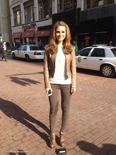 maria menounos' Extra look of the day: jacket @bodleather, sweater @myrebeccataylor, jeans @jbrandjeans