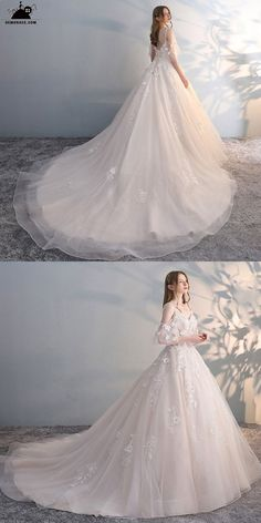 Gorgeous Off Shoulder Unique Lace Ballgown Wedding Dress with Puffy Sleeves Princess Style at GemGrace. Puffy Wedding Dresses, Simple Wedding Gowns, Bridal Dresses, Tulle Wedding, Wedding Dresses With Flowers, Sheath Wedding Gown, Princess Wedding, Princess Style Wedding Dresses, Tulle Dress