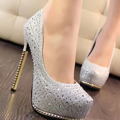 Platform Height: 4cm Upper Materials: PU Types of Heels: Stiletto Heel Embellishment: Beads Category: Women's Shoes/Wedding Shoes Shoes Styles: Stiletto Heel,Platform Shoes Occasion: Party & Evening,