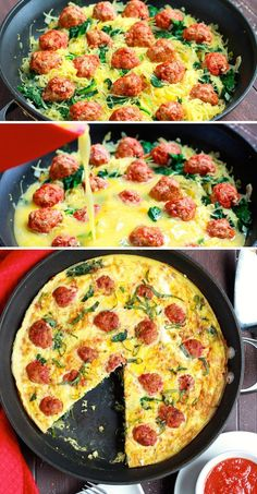Spaghetti Squash and Meatball Frittata | 24 Low-Carb Spaghetti Squash Recipes That Are Actually Delicious