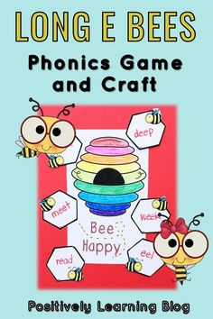 Phonics craft and game for Long E spellings! I introduced the game in my Guided Reading groups and then was able to move it to our Word Work literacy centers (Daily 5). The phonics craft was our Fun Friday activity! My students LOVED it and the hands-on learning really helped the Long E spelling stick! #phonicgames #phonicscraft