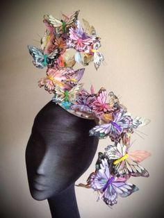 Huge Pastel Butterfly Fascinator, Bespoke, One-Off, Unusual, Ascot Hat Headpiece