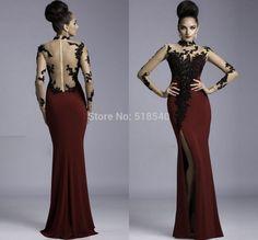 Vestidos De Fiesta 2014 New Sexy High-neck Long Sleeves Black Lace Split Straight Long Evening Dresses Party Prom Dress