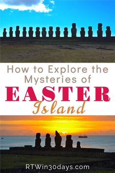 Easter Island, Chile is the most isolated inhabited island in the world. Yet this remote island is also a fantastic travel destination because it's home to one of the world's greatest mysteries. 887 giant stone moai dot the island's protected Rapa Nui National Park, a UNESCO World Heritage Site. How did they get there and why? Easter Island hotels are few but travelers can choose a budget guest house or splurge on the island's best eco-resort (hint: go luxury it's worth it!). Amazing Destinations, Travel Destinations, Greatest Mysteries, Unique Hotels, Easter Island, South America Travel, South Pacific, World Heritage Sites, Time Travel
