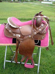 MINIATURE HORSE SM PONY BAREBACK SADDLE PAD CHILDRENS SET BLUE BRONC RODEO