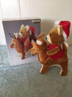 Vintage Dillard's Musical Teddy Bear on Reindeer w Box Tested Works   eBay