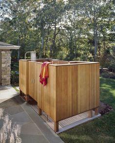 gartenideen dusche instalieren duschkabine