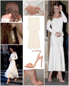 Kate embraced this season's cold-shoulder trend for a second time in this cream knit midi dress by Brazilian-born designer Barbara Casasola. The $2,210 piece perfectly highlighted her slim frame and had a regal feel with the longer length and pleated skirt. The original dress was unlined so it is likely Kate had it added to the piece. Kate also debuted new sandals by another new brand - also Brazilian - Schutz. They are the 'Dollie' sandals in clay and retail for just £70/$90 at Shopbop…