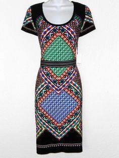 Calvin Klein Dress Size 10 Colorful Geometric Boho Print Cap Sleeve Stretch NWT #CalvinKlein #StretchBodycon #Casual