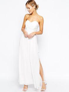 Ivory Strapless Ankle Length Chiffon Slit Casual Wedding Dress Sweetheart Neck
