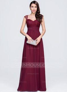 A-Linie/Princess-Linie Herzausschnitt Bodenlang Chiffon Abendkleid mit Rüschen (017074676)