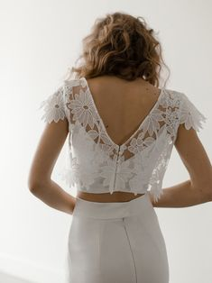 Wedding Dress Topper, Sheer Wedding Dress, Two Piece Wedding Dress, Top Wedding Dresses, Wedding Dress Sleeves, Colored Wedding Dresses, Gorgeous Wedding Dress, Wedding Crop Top, Dress Lace