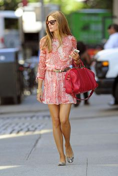 Olivia Palermo steps out in a pink paisley patterned dress and handbag in New York City on August 14, 2013.