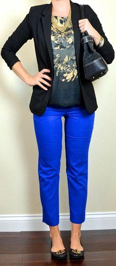 blue cropped pants, black & gold patterned blouse, black jacket