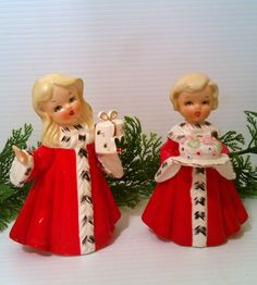 Vintage Christmas Party Girl Figurines - Circa 1950s - Japan. ---Etsy.