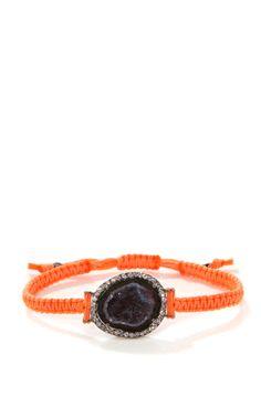 Dark Geode And Diamond On Neon Orange Macrame Bracelet In 18K White Gold   Kimberly McDonald