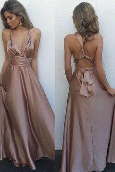 A-Line V-Neck Floor-Length Blush Elastic Satin Multi-way Prom Dress