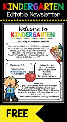 FREE Welcome to Kindergarten newsletter - EDIT and print to send during Back to School season or Open House - adorable Meet the Teacher letter FREEBIE