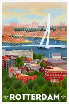Poster / Kaart Rotterdam (Made by Tim Louisse, Louissons) Sparta Rotterdam, Vintage Travel Posters, Poster Vintage, Skyline Art, Art Deco Posters, Travel Illustration, World Cities, Cool Places To Visit, Netherlands