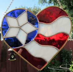 "Heart, Star, Freedom, Patriotic, Stained Glass, Suncatcher, 8 x 9"""