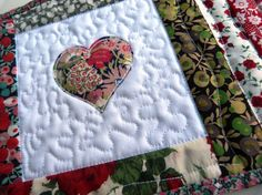 SALE - Liberty fabric Mug Rug  with heart applique - Red and green Liberty of London tana lawn coaster.. $12.50, via Etsy.