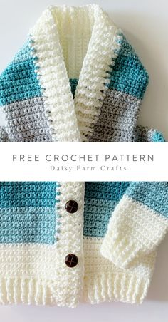 Free Crochet Pattern - Four Color Baby Sweater patterns baby sweater Free Crochet Pattern - Four Color Baby Sweater Crochet Baby Cardigan Free Pattern, Crochet Baby Sweaters, Baby Sweater Patterns, Crochet Cardigan Pattern, Crochet Jacket, Baby Knitting Patterns, Free Crochet, Knit Crochet, Crochet Baby Clothes Boy