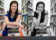 cute idea in a library - senior pose library Carey Anne Photography www.careyanneblog.com