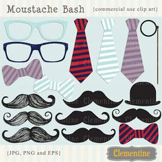 Mustache clip art (royalty free): $3...fun party decor of photo booth props.