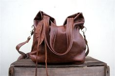 Agatha ////Fold Over in Chestnut Brown Leather by arebycdesign, $178.00