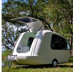 It's a boat - it's a trailer - it's a sleeping pod - YES - it's an amphibious trailer for glamping. (Glamping = glamorous camping, i.e., anything more upscale than the typical tent and sleeping bag.