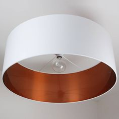 Extra Large Oversize Brushed Copper Effect Drum Shade - 40 Colours Copper Ceiling, Ceiling Pendant, Ceiling Lights, Interior Lighting, Modern Lighting, Lighting Ideas, Lighting Design, Extra Large Lamp Shades, Ceiling Shades