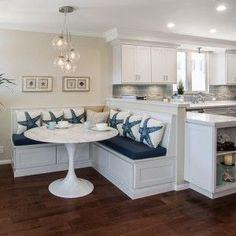New Kitchen Corner Seating Cushions Ideas Kitchen Island Storage, Kitchen Layouts With Island, Kitchen Cabinet Layout, Kitchen Island With Seating, Kitchen Cabinets, Kitchen Sink, White Cabinets, Kitchen Countertops, Kitchen Islands