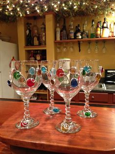Decorated Wine Glass Beaded Margarita Martini and by AllegroArt, $12.00