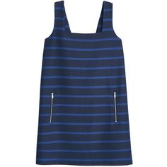 Mango Striped Strap Dress, Navy ($77) ❤ liked on Polyvore featuring dresses, blue mini dress, blue maxi dress, maxi dress, navy blue maxi dress and mini dress