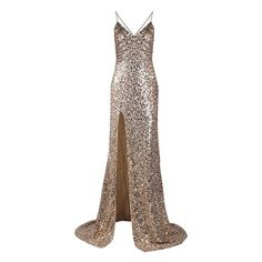 City Of Light Gold Sequin Spaghetti Strap Deep V Neck Thigh Slit Low... ❤ liked on Polyvore featuring dresses, gowns, long dresses, vestidos, sequin maxi dress, spaghetti-strap maxi dresses, long sequin dress, maxi dresses and sequin gown