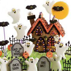 Moon Cookies, Ghost Cookies, Cat Cookies, Halloween Cookies, Halloween Diy, Chocolate Coconut Cookies, Cookie House, Icing Colors, Lollipop Sticks