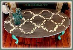 quick Stenciled Coffee Table Makeover...Trash to Treasure!