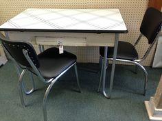 Retro enamel top table & chair set found at Homestead Handcrafts, San Antonio, Texas.